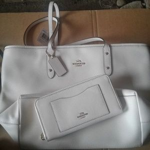 Brand new White Coach purse and wallet